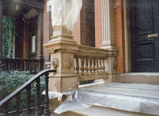 Note the generous Italianate details such as the robust balusters featured in this portico balustrade.