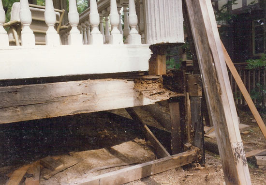 Rot in this New Haven, CT porch proceeded much further than the columns to compromise the framing itself.