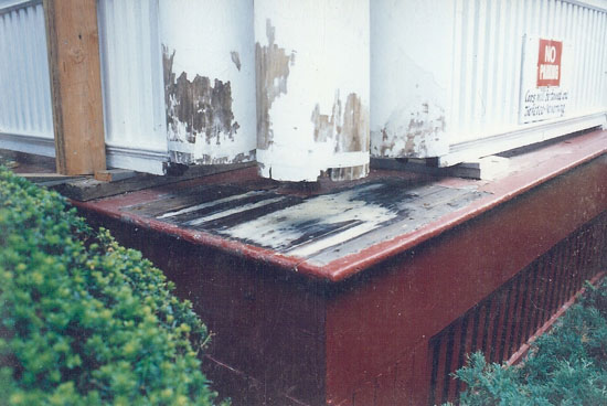 No damage to the deck was initially visible, but once the columns were removed, the rot beneath can be seen.