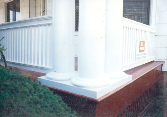 The repair is completed, the heavy porch columns now bearing upon the original, restored bases and plinth.