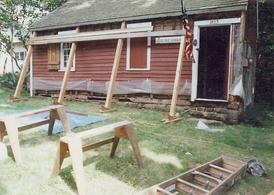We repaired damage to the sills of the oldest schoolhouse in New Haven County, located in Northford, CT.